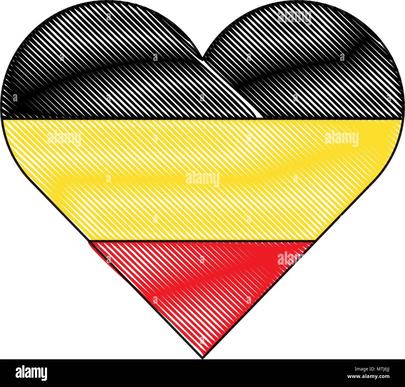 german flag in heart shape over white background, vector illustration - Stock Vector