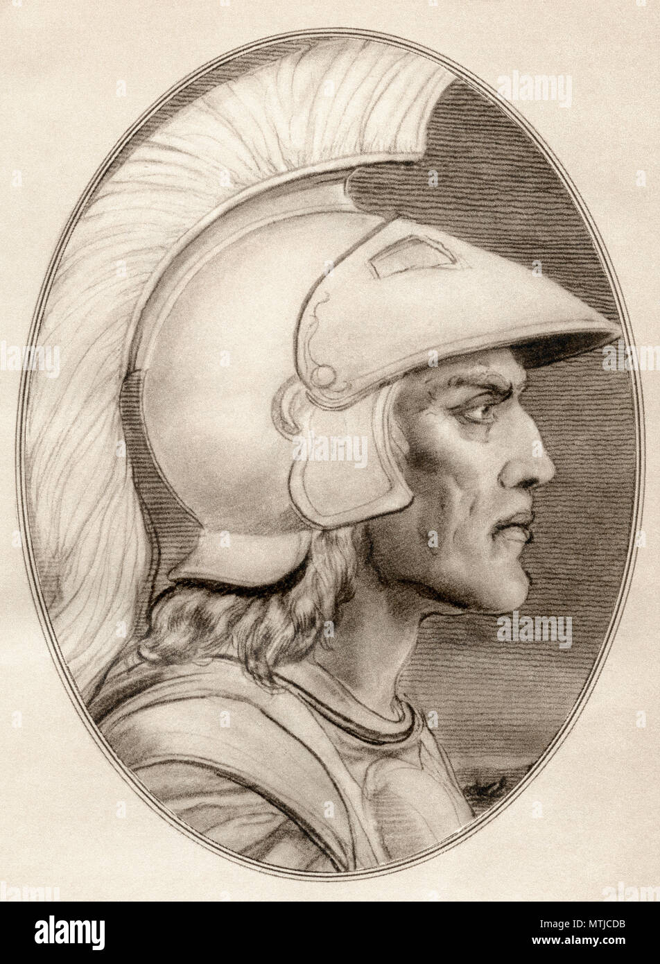 Alexander III of Macedon,  356 BC – 323 BC, aka Alexander the Great.  King of the ancient Greek kingdom of Macedon and member of the Argead dynasty.  Illustration by Gordon Ross, American artist and illustrator (1873-1946), from Living Biographies of Famous Men. - Stock Image