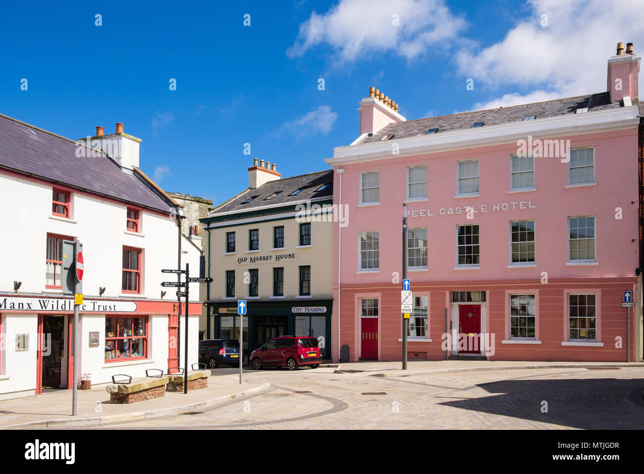 Old town buildings and shops around Market Place, Peel, Isle of Man, British Isles Stock Photo