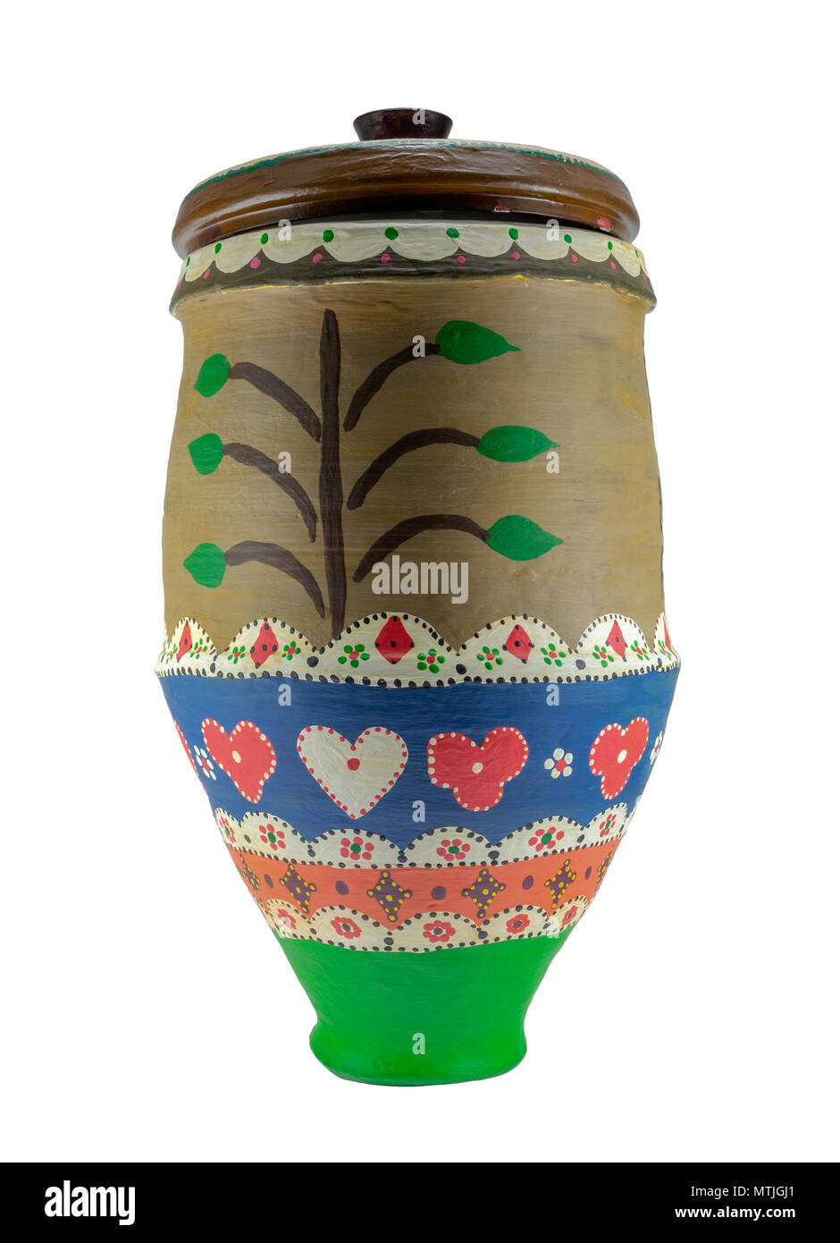 Colorful Egyptian handcrafted decorated artistic pottery jar isolated on white - Stock Image