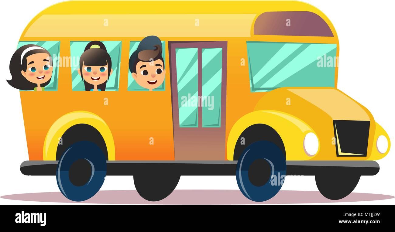 Flat vector school bus. School kids riding a schoolbus. Back to school vector flat concept. Happy schoolchildren are watching from windows. - Stock Vector