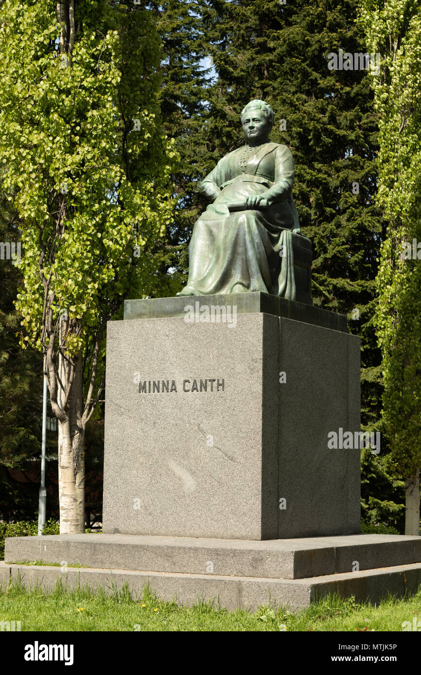 Statue of Mrs Minna Canth, a famous Finnish novelist and playwright, actively advocating the cause for women, in her home city of Kuopio. - Stock Image