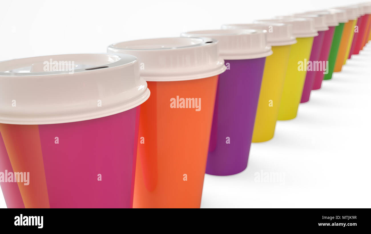 Lots of colorful coffee to go mugs - 3D Rendering - Stock Image