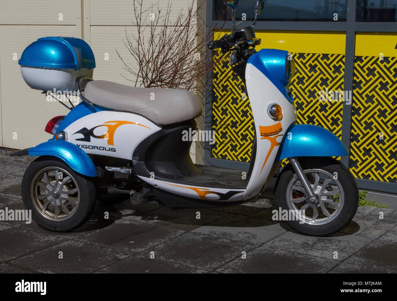 Vigorous Scooter, in Selfoss Iceland. - Stock Image