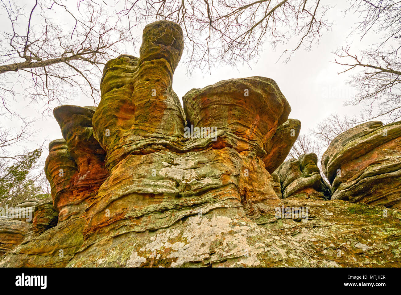 Colorful Anvil Rock in the Wilds of Garden of the Gods in Shawnee National Forest in Illinois - Stock Image