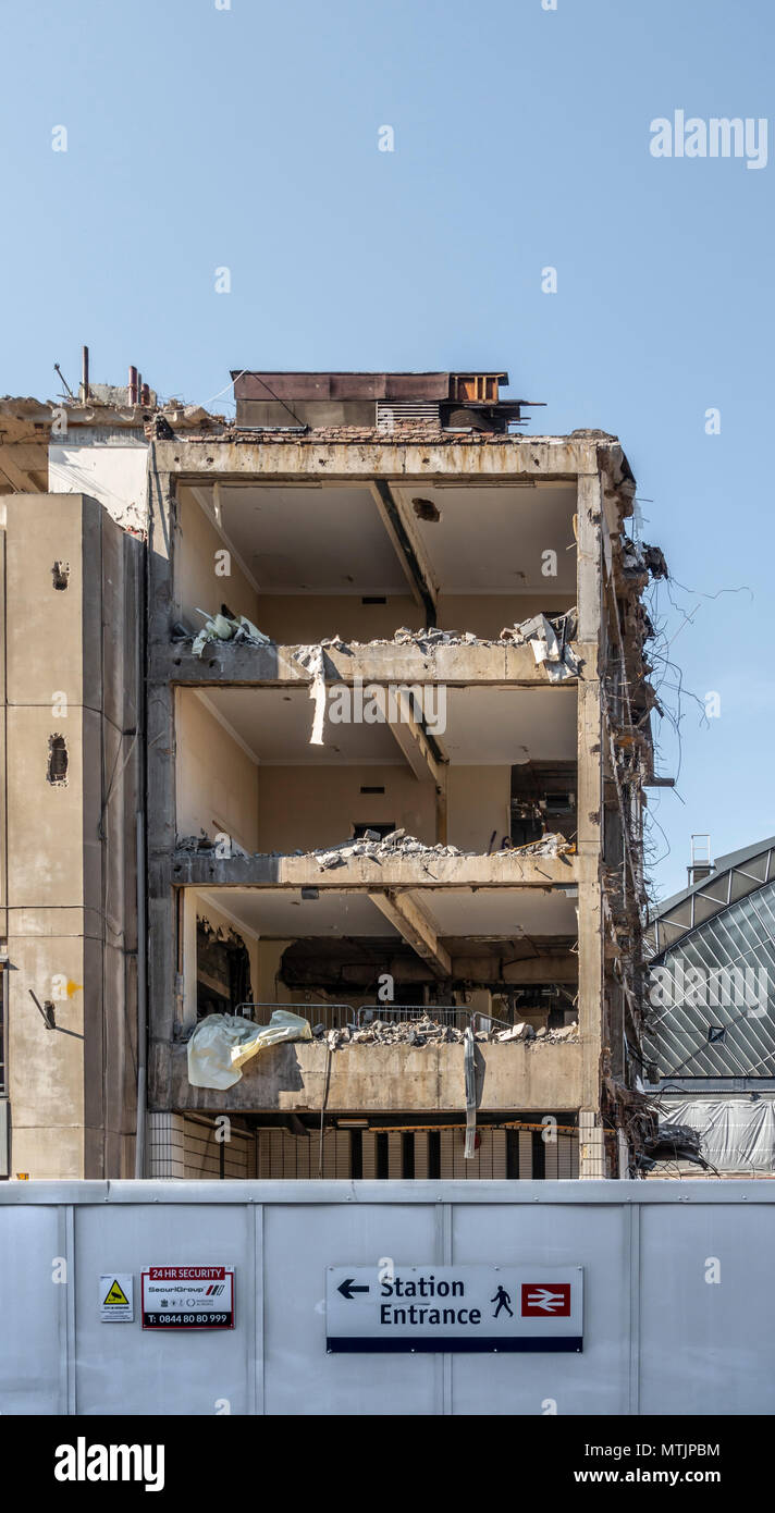 Partially demolished building (Consort House) in preparation for the redevelopment of Queen Street railway terminal;  Glasgow city centre,  Scotland - Stock Image