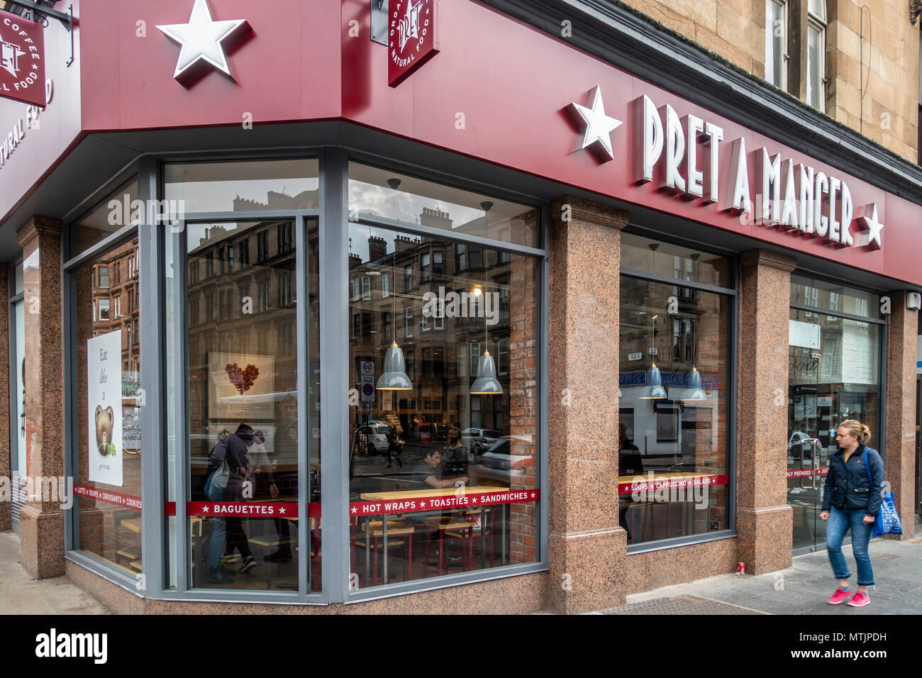 Pret a Manger sandwich shop / cafe in Byres Road in the West End of Glasgow, Scotland, UK - Stock Image