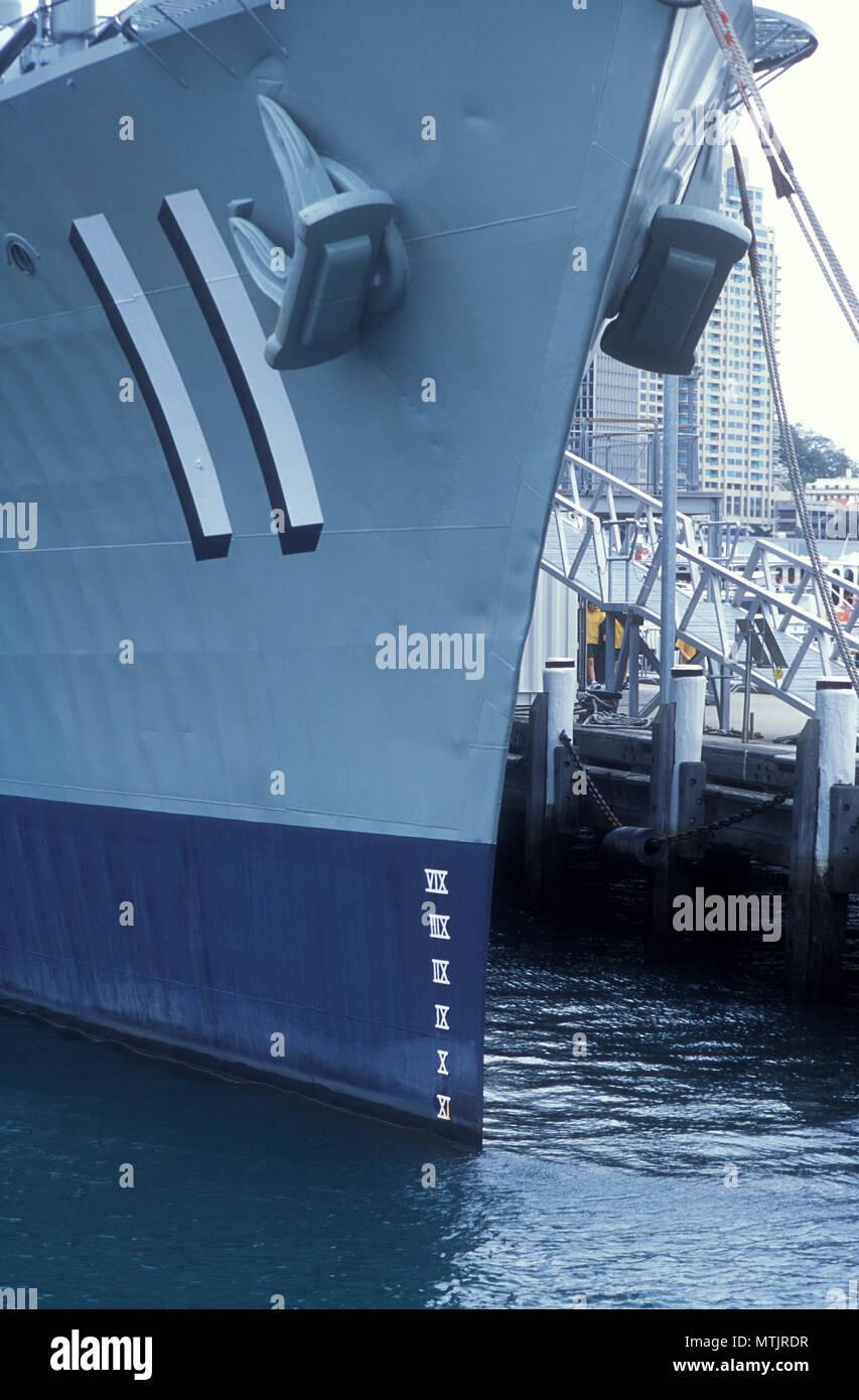 AUSTRALIAN NAVY SHIP SHOWING PLIMSOL LINE, GARDEN ISLAND NAVAL DOCKYARD, SYDNEY, NEW SOUTH WALES, AUSTRALIA Stock Photo