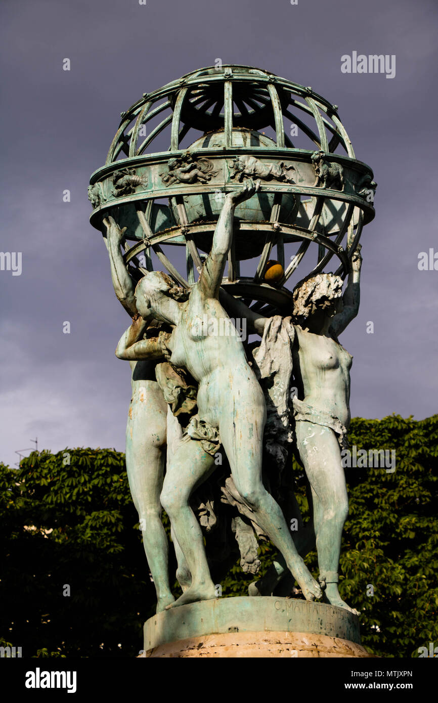 The Four Parts of the World Holding the Celestial Sphere - Stock Image