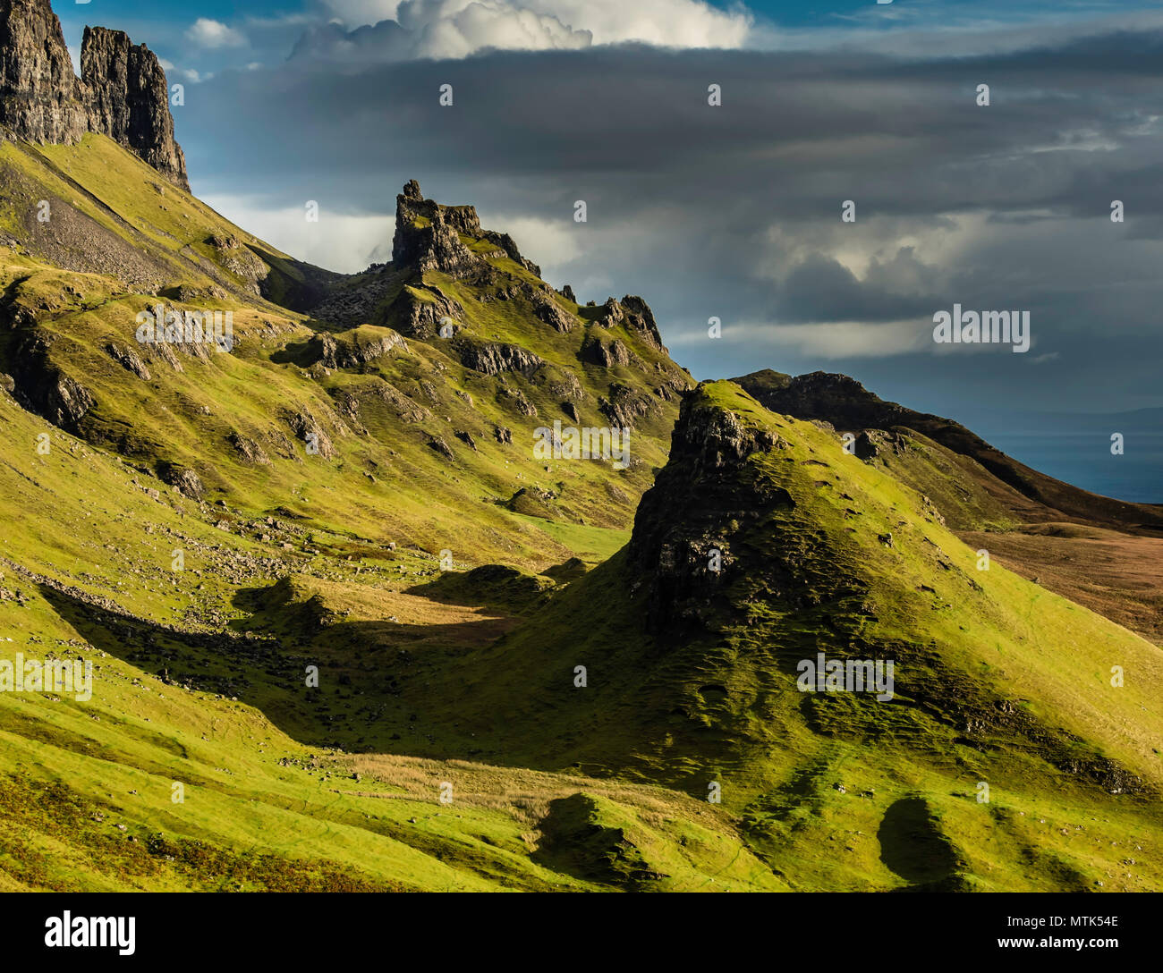 One of the most incredible sights seen on the Isle of Skye or anywhere for that matter is the remarkable Quiraing landslip. - Stock Image