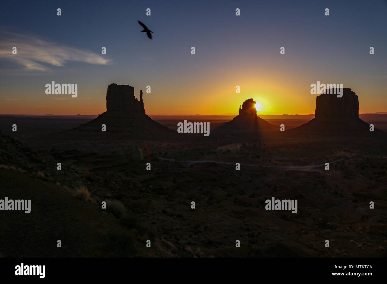 Eagle soaring over monument valley as the sun rises over the sandstone formations - Stock Image