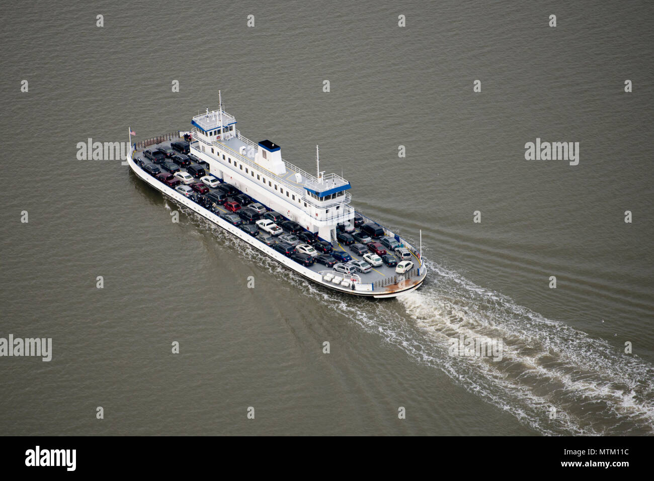 Aerial View from a Cessna 150 overflying the Jamestown to Scotland, Virginia Ferry. Colonial Williamsburg and historic Jamestown are nearby. - Stock Image