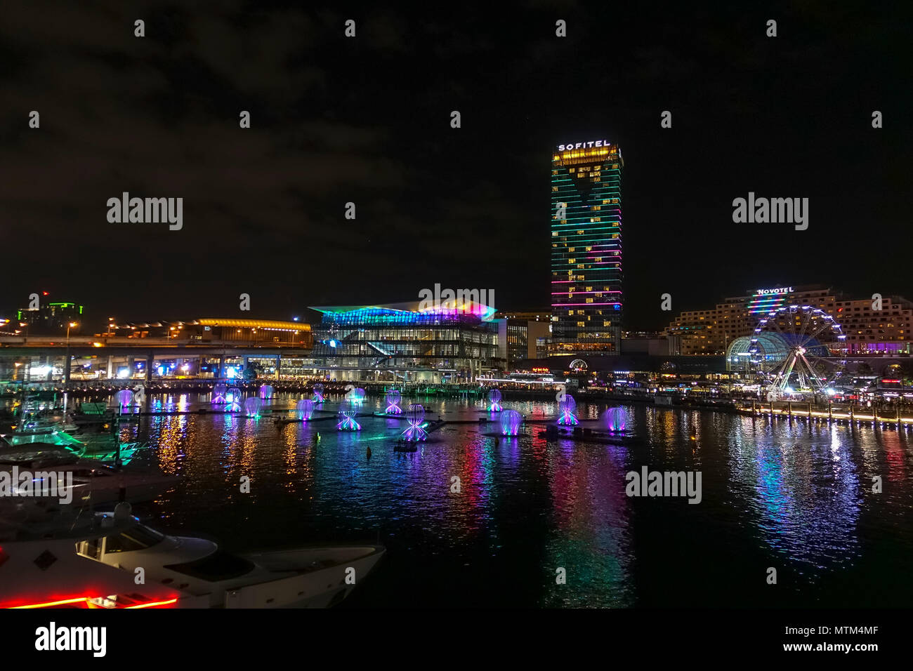 Darling Harbour during Vivid 2018 - Stock Image