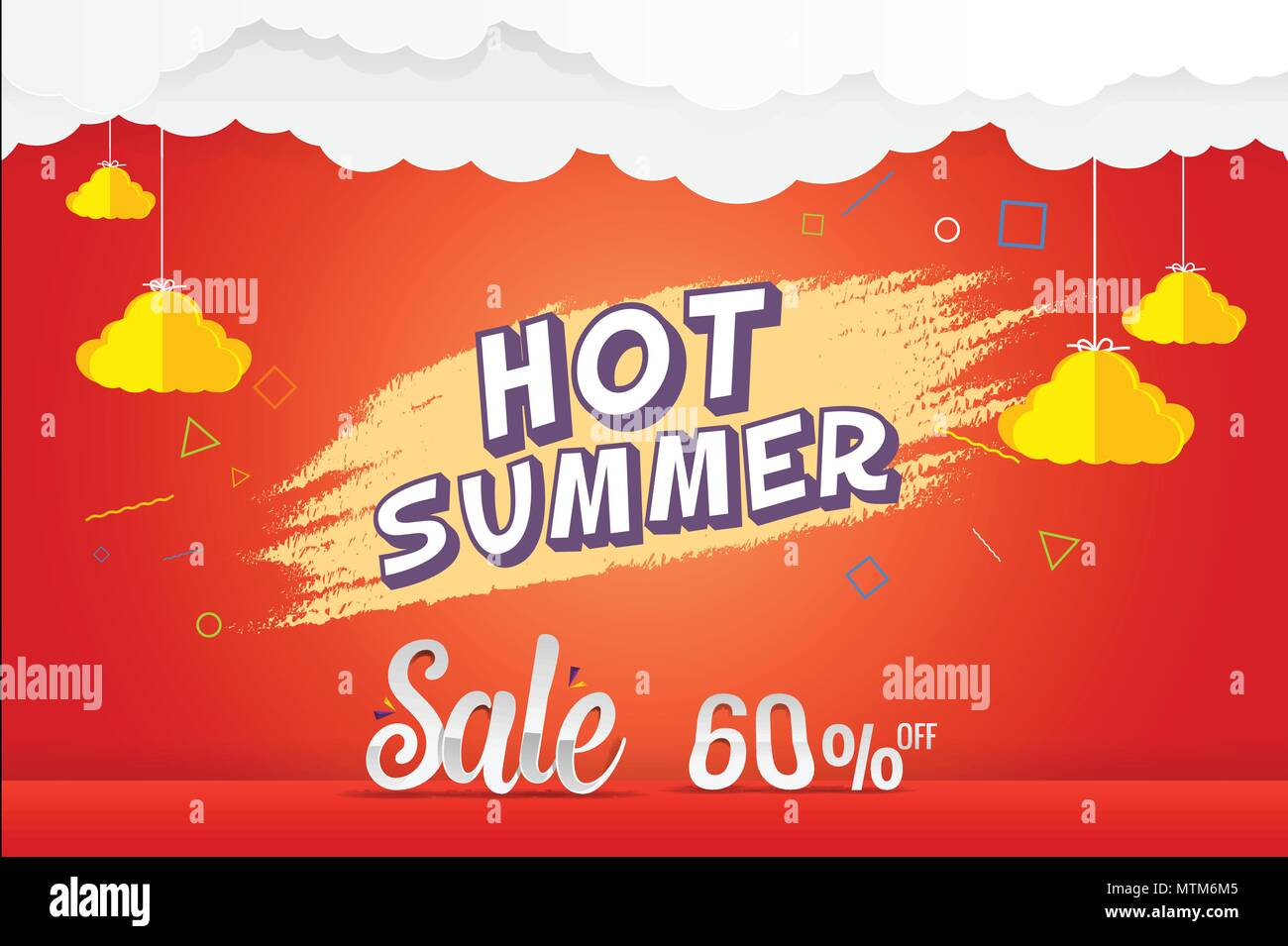 hot summer 60% sale discount vector template design - Stock Vector