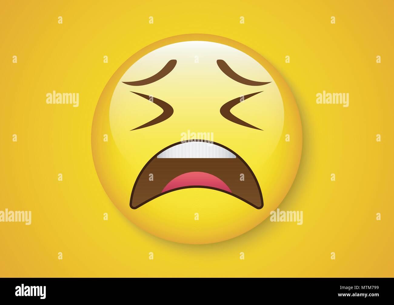 Smiley Tired Emoticon Yellow Face Stock Photos & Smiley Tired