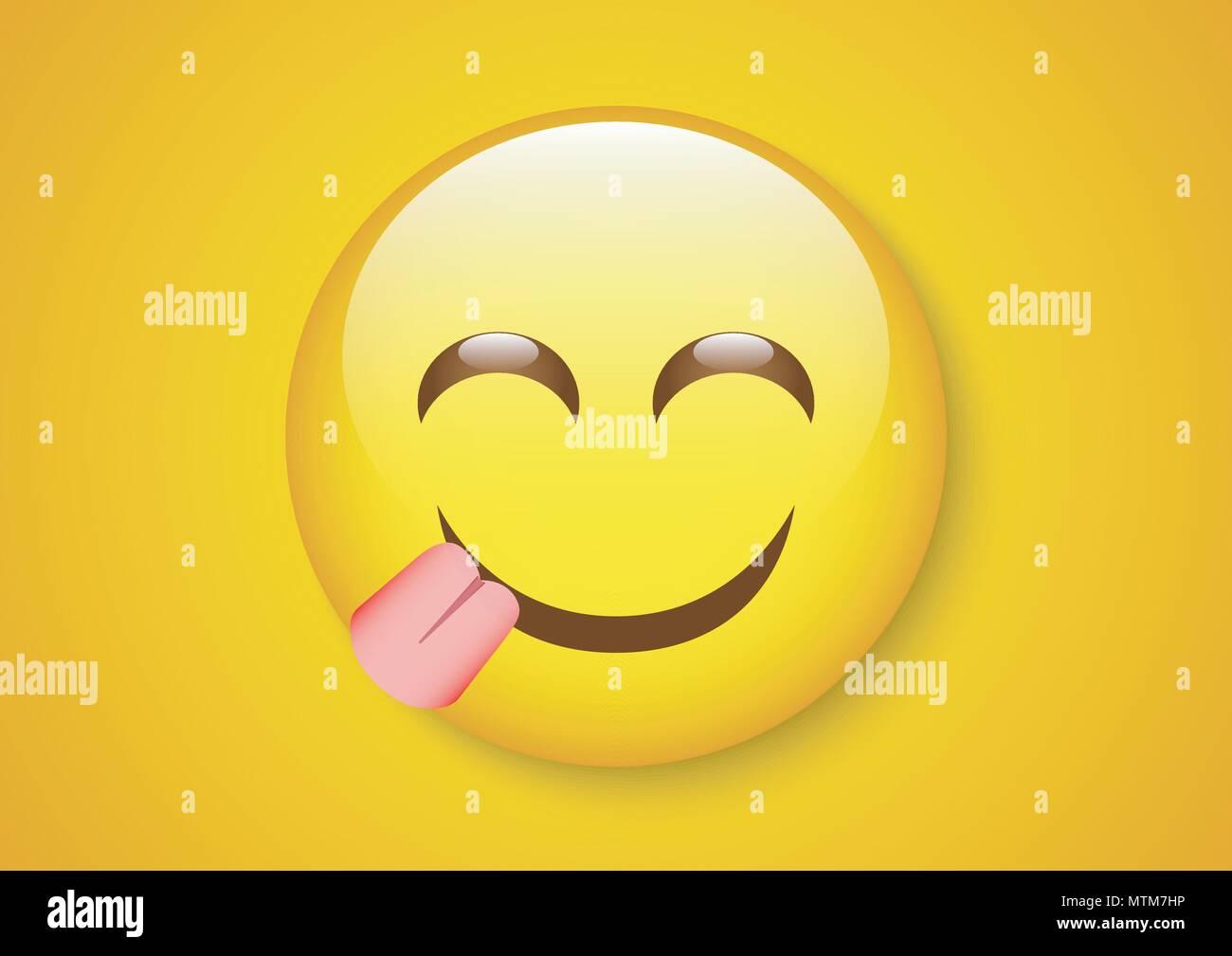 Vector Design Of Emoticon Expression Yummy Face Stock Vector Art