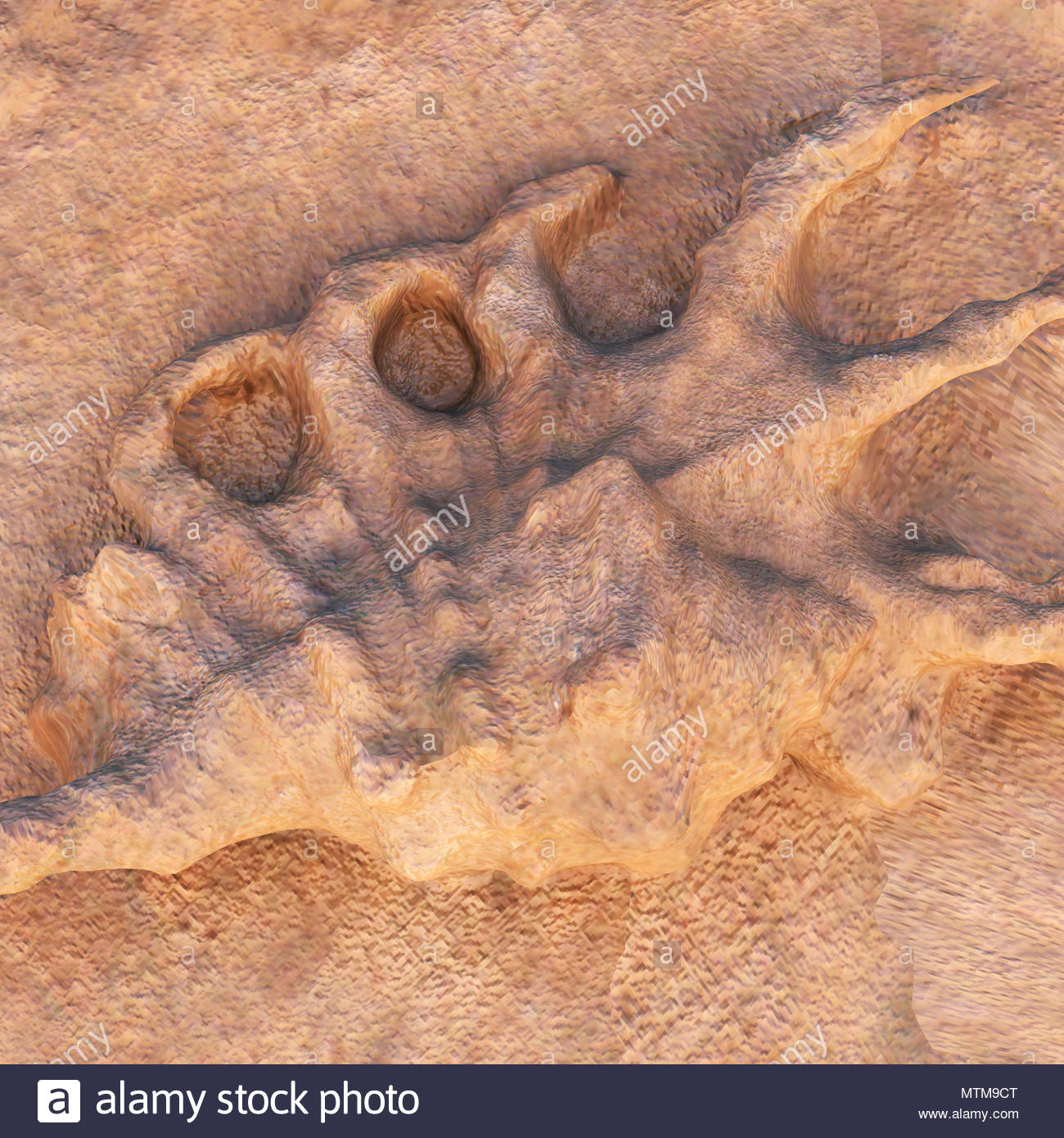 Dinosaur footprint in the rock - Stock Image