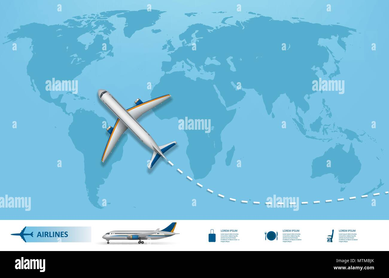 Business trip banner with airplane and world map background business trip banner with airplane and world map background realistic aircraft travel concept flight travel world map vector illustration gumiabroncs Choice Image