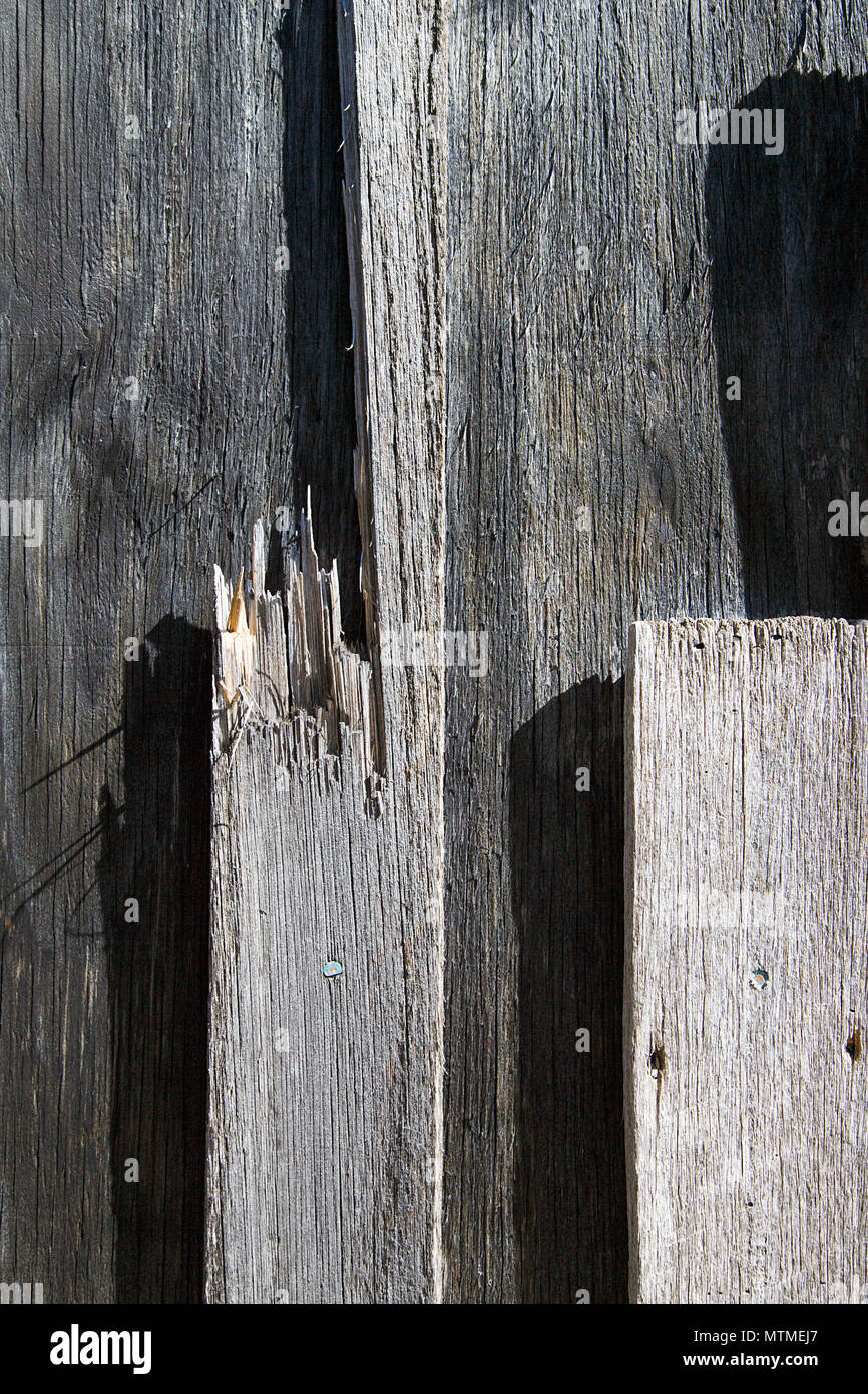 Wood Grain Background Texture - Fence - Stock Image