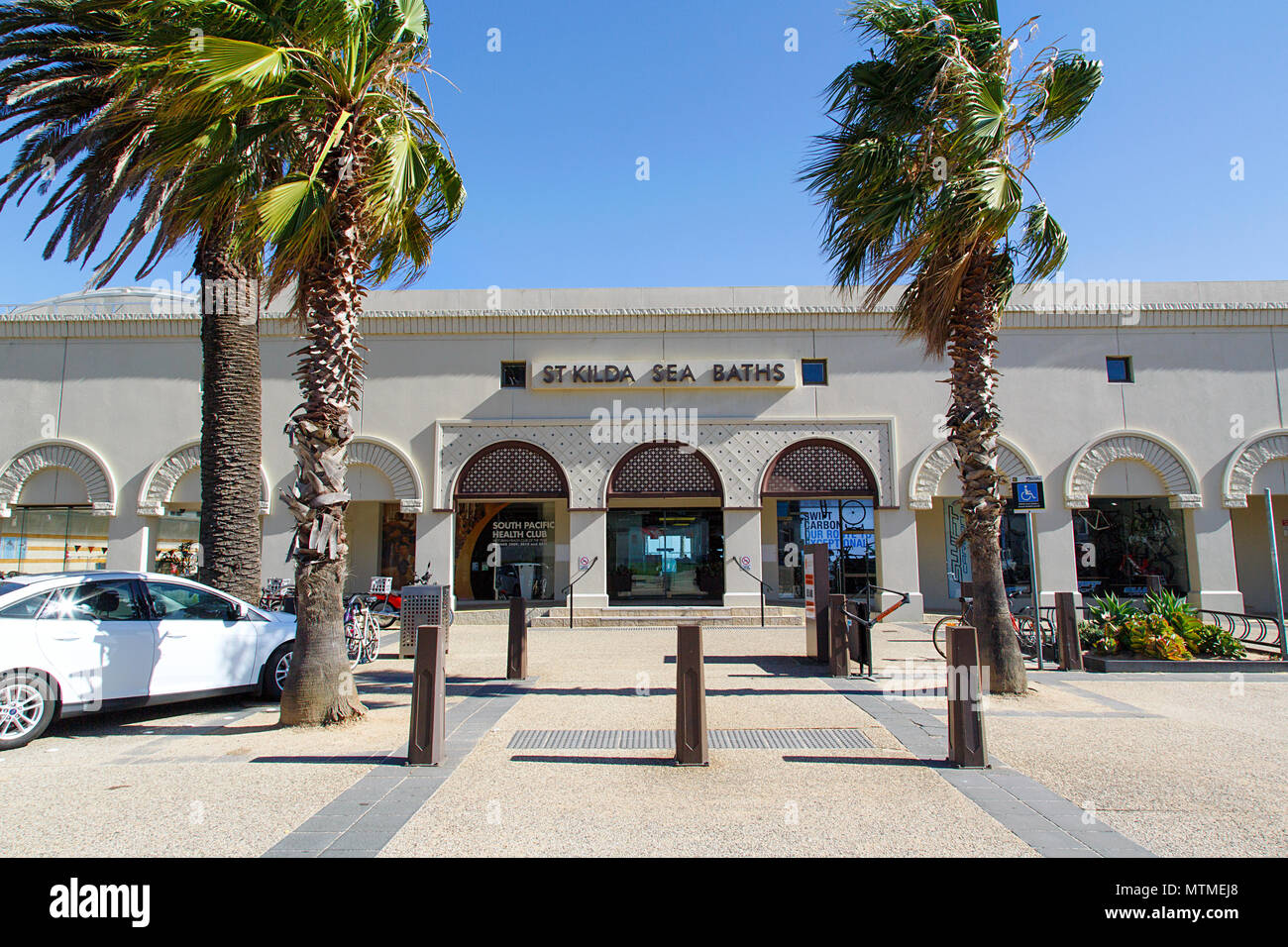 Melbourne, Australia: April 13, 2018: St Kilda Sea Baths contain Australia's only indoor heated sea-water pool, a hydrotherapy spa and a steam room. - Stock Image