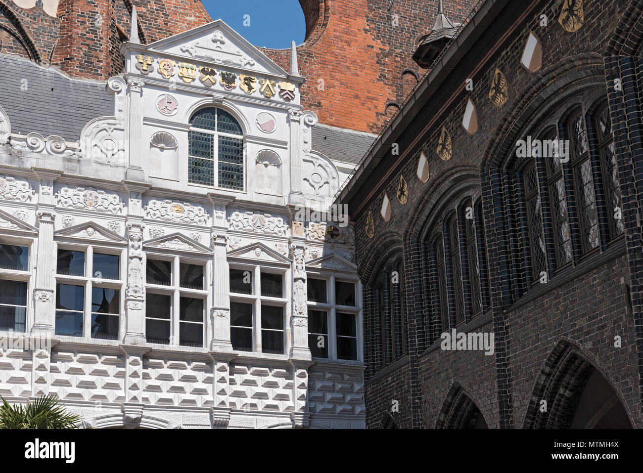 Town hall at the Markttwiete in Lubeck, germany - Stock Image