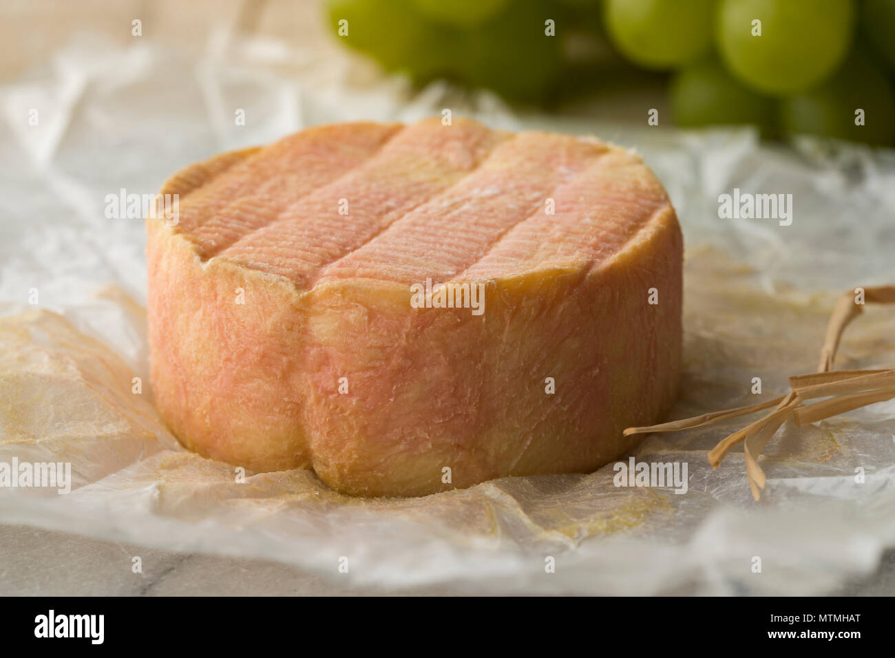 Unwrapped whole French Marc de Muscat cheese on paper - Stock Image