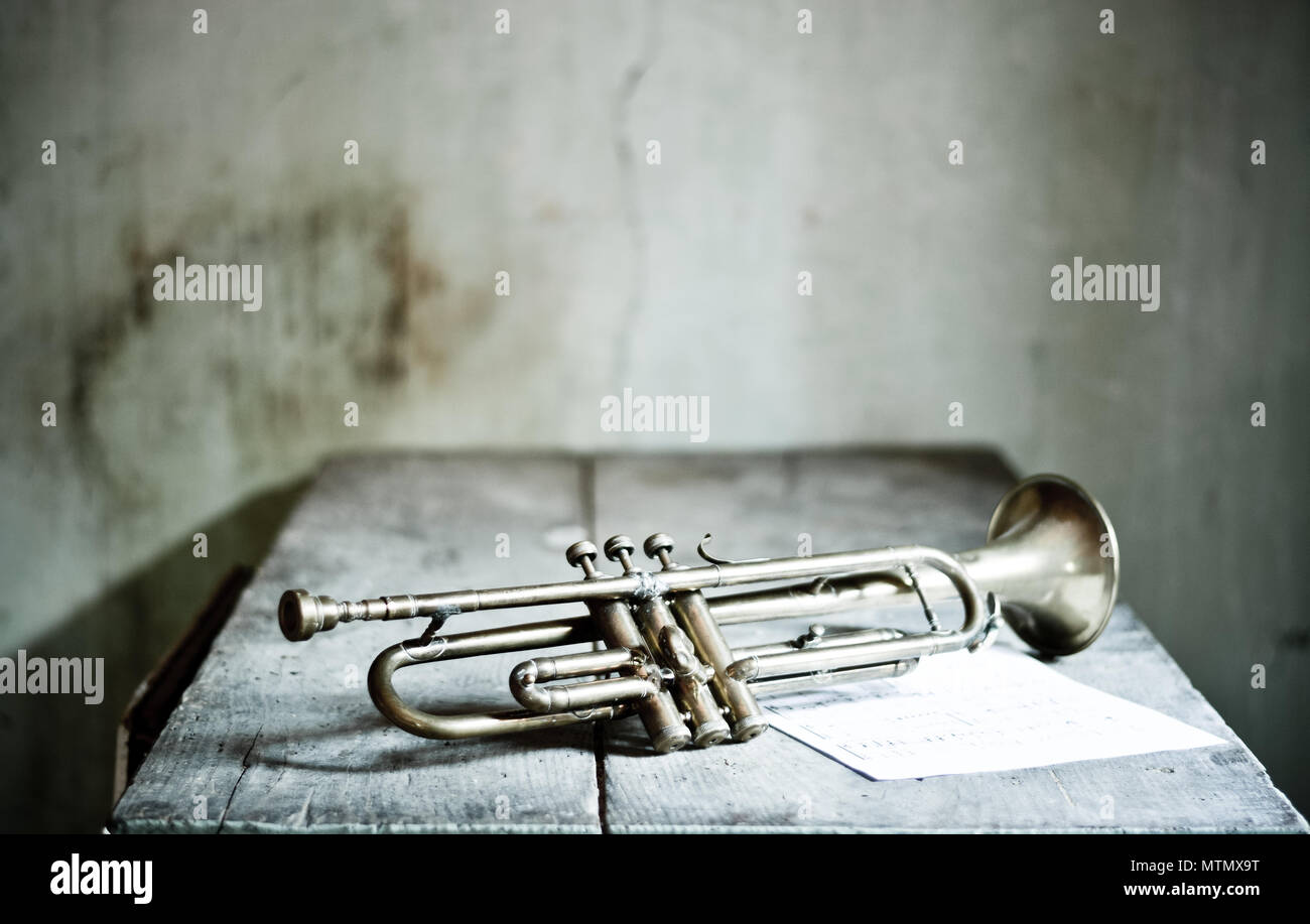 An ancient jazz trumpet - Stock Image