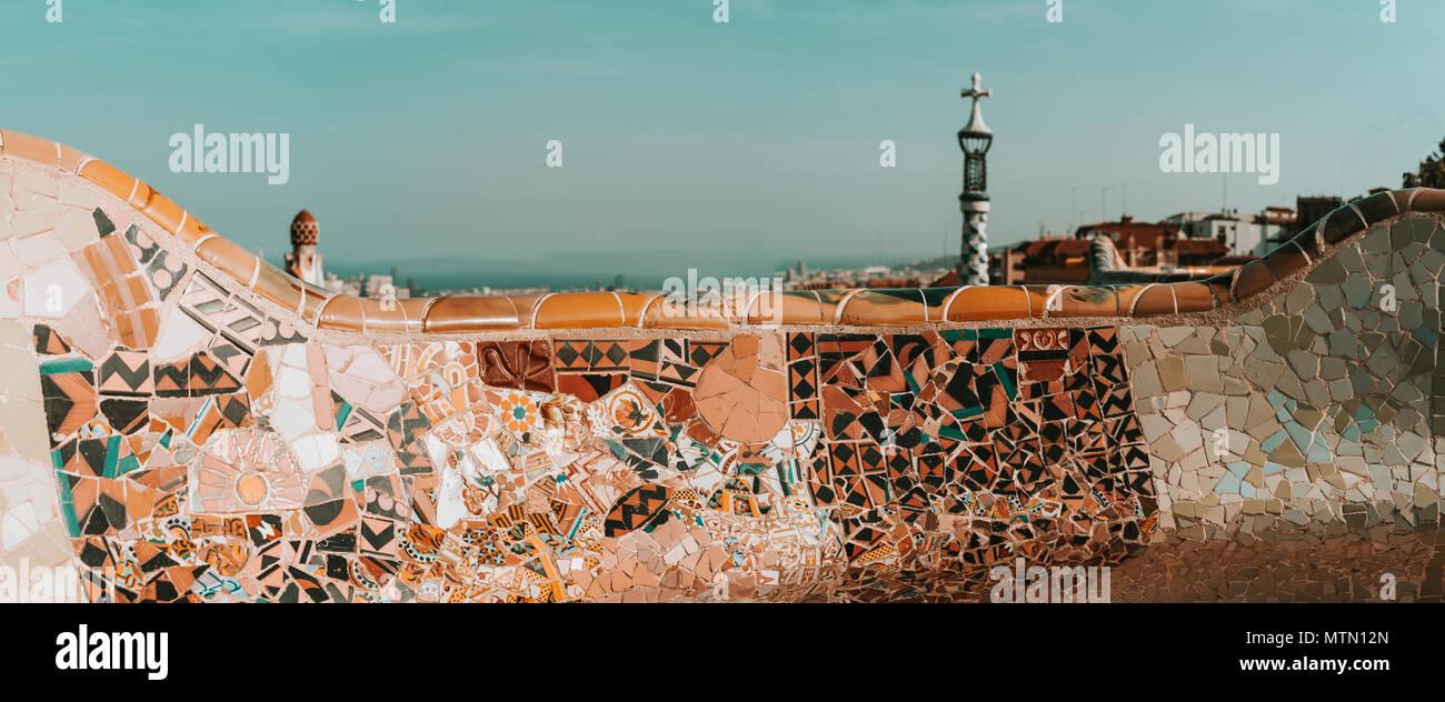 Barcelona Park Guell of Gaudi tiles mosaic serpentine bench modernism - Stock Image