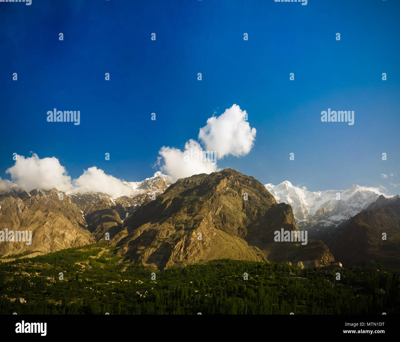 Panorama of Karimabad and Hunza valley Gilgit-Baltistan, Pakistan - Stock Image