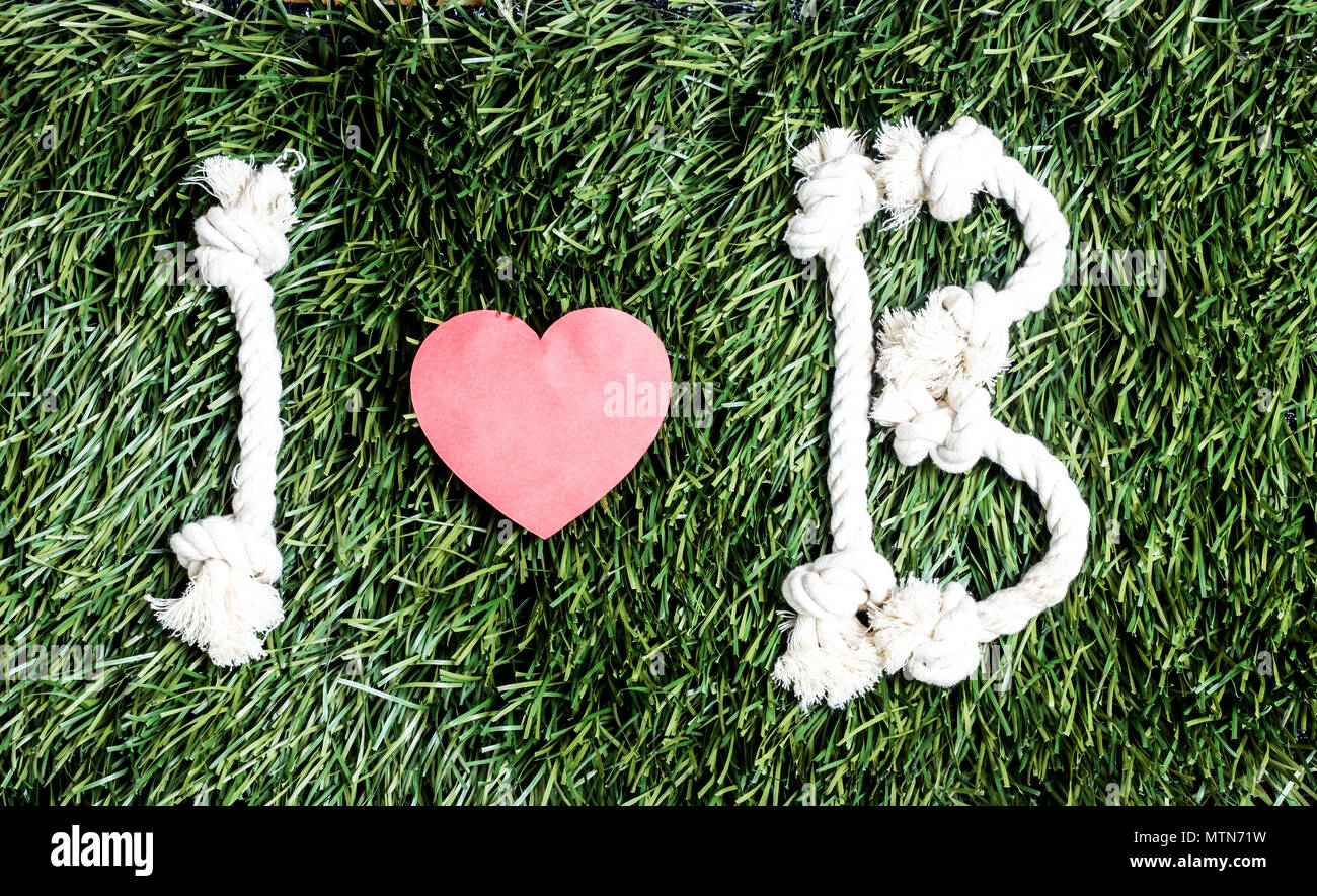 I and B letters and three paper heart cut outs on grass - Stock Image