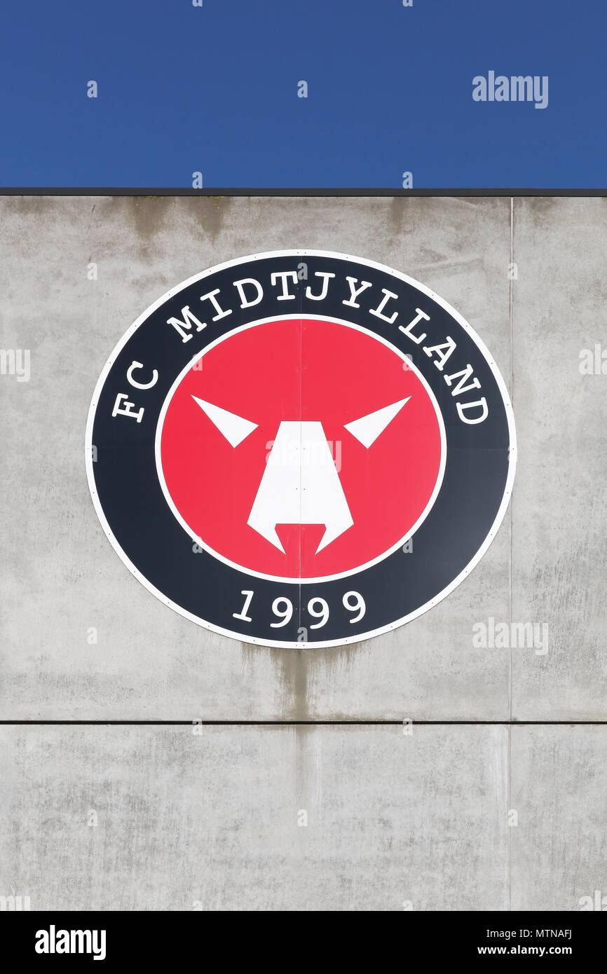Herning, Denmark - May 13, 2018: FC Midtjylland logo on a wall of the MCH arena. FC Midtjylland is a Danish football club  based in Herning, Denmark Stock Photo