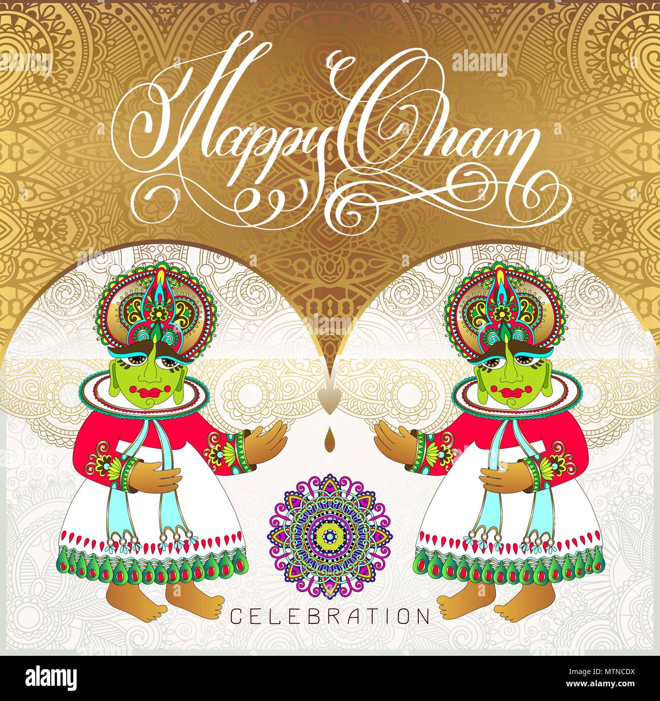 Happy Onam Golden Greeting Card Design With Two Traditional Indi