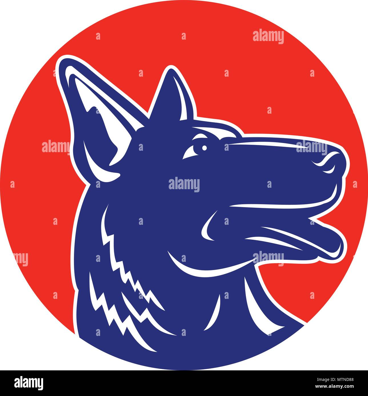 Sports mascot icon illustration of head of a German shepherd dog looking up viewed from side set inside circle on isolated background in retro woodocu - Stock Vector