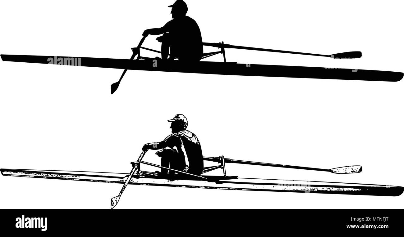 rower sketch and silhouette - vector - Stock Image