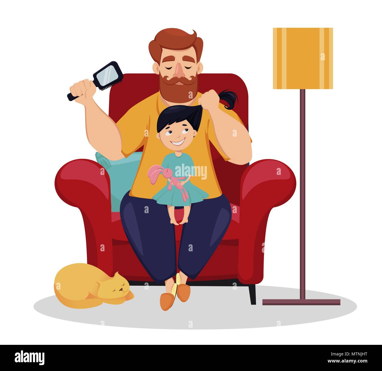 happy fathers day greeting card cheerful daughter sits on knees of her father while he does her hairstyle daughter and dad together at home vector