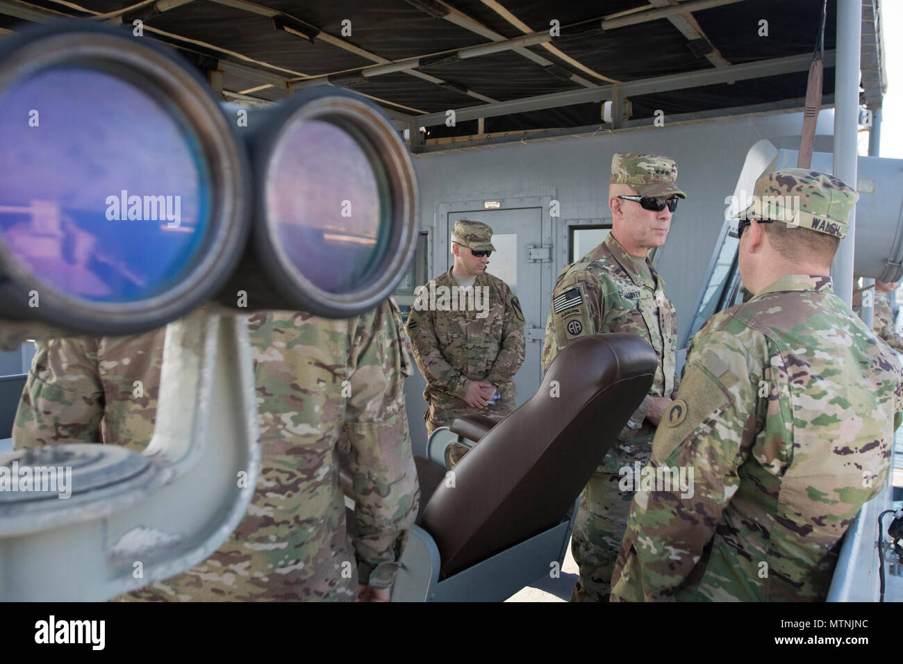 """U.S. Army Reserve Commanding General Lt. Gen. Charles D. Luckey tours the LSV-5 """"MG Charles P. Gross"""" during a tour of the Kuwait Naval Base and its capabilities in Kuwait, Jan. 10, 2017. (U.S. Army Photo by Staff Sgt. Dalton Smith) - Stock Image"""