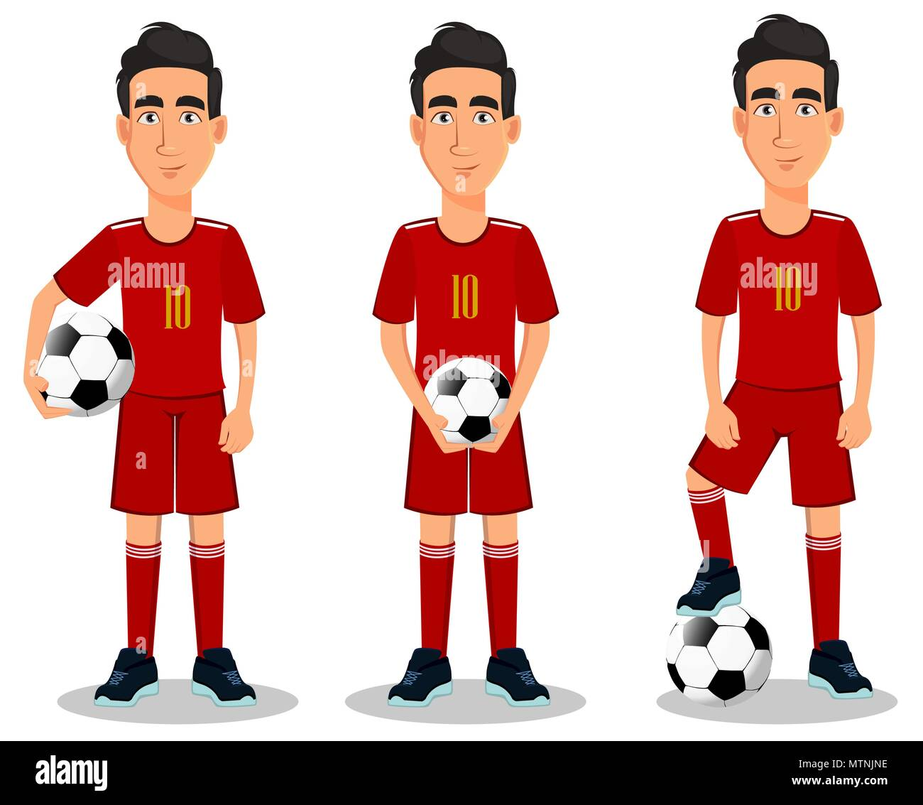 Football player in red uniform, set of three poses. Handsome cartoon character with soccer ball. Vector illustration on white background. - Stock Vector