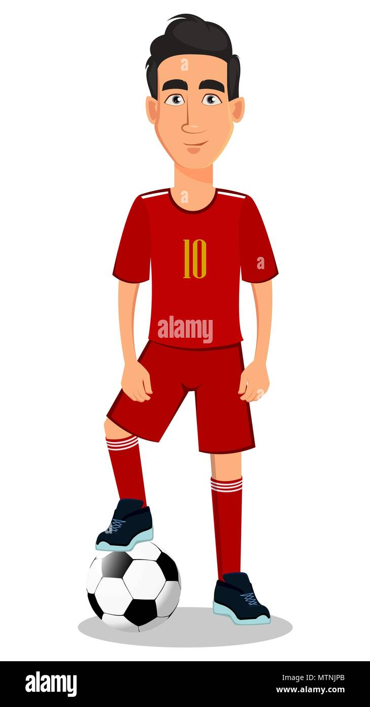 Football player in red uniform. Handsome cartoon character with soccer ball. Vector illustration on white background. - Stock Vector