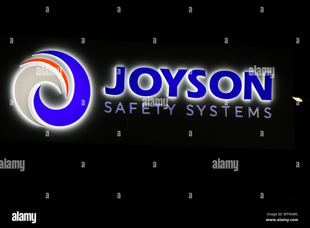 """Takata Airbag >> MAY 17, 2018 - BERLIN: the logo of the Chinese company """"Joyson Safety Systems"""" which has taken ..."""