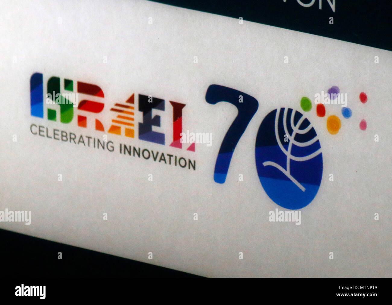 das Logo zur offiziellen 70 Jahres Feier Israels 'Israel 70', Berlin. - Stock Image