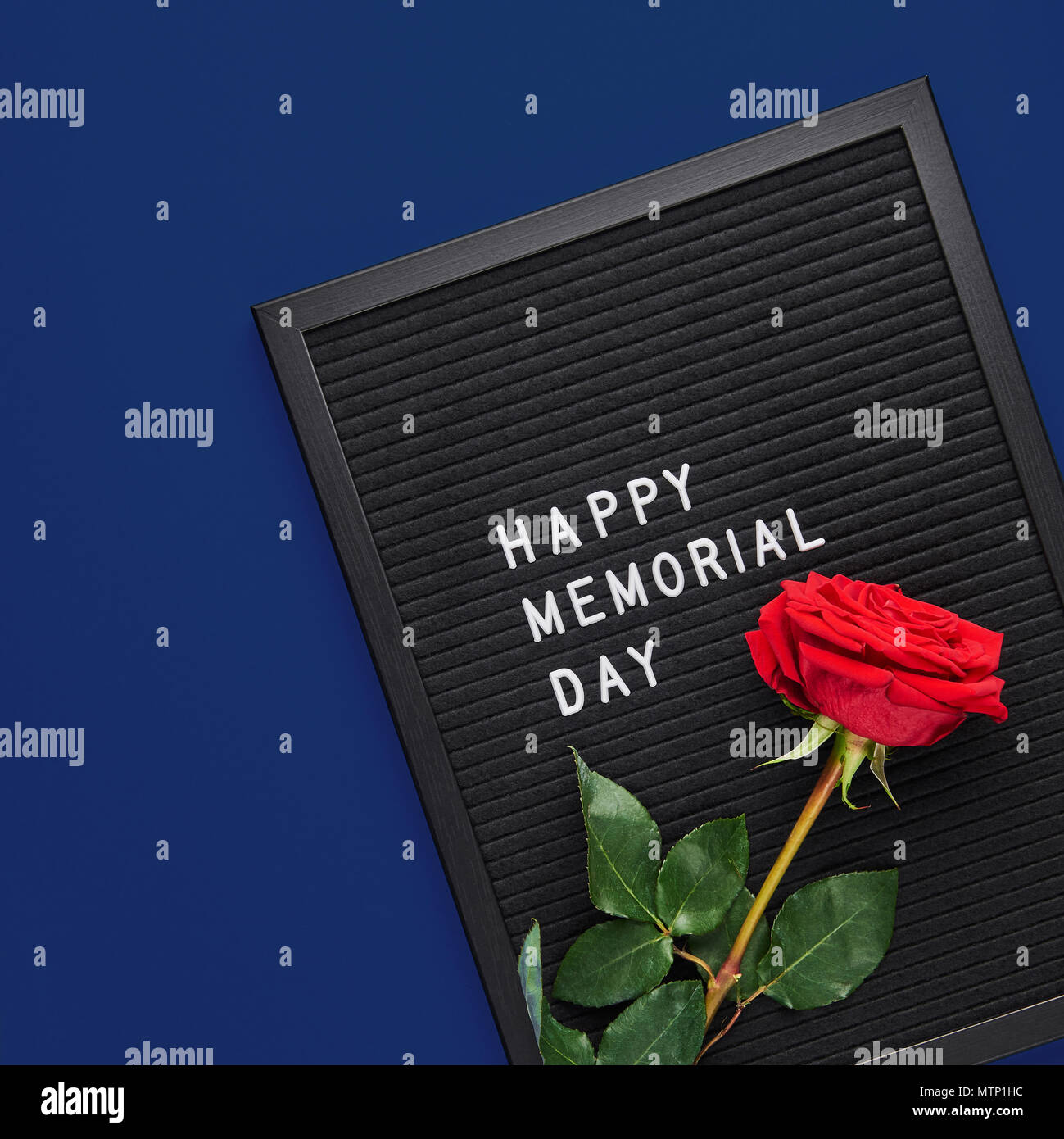 black letterboard with white plastic letters with quote happy memorial day and rose on navy blue background square crop