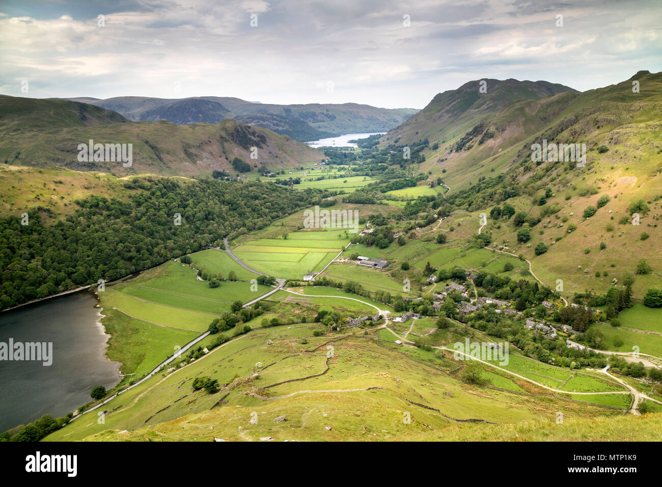 Patterdale and Ullswater from Hartsop Dodd, Lake District Cumbria, UK. - Stock Image