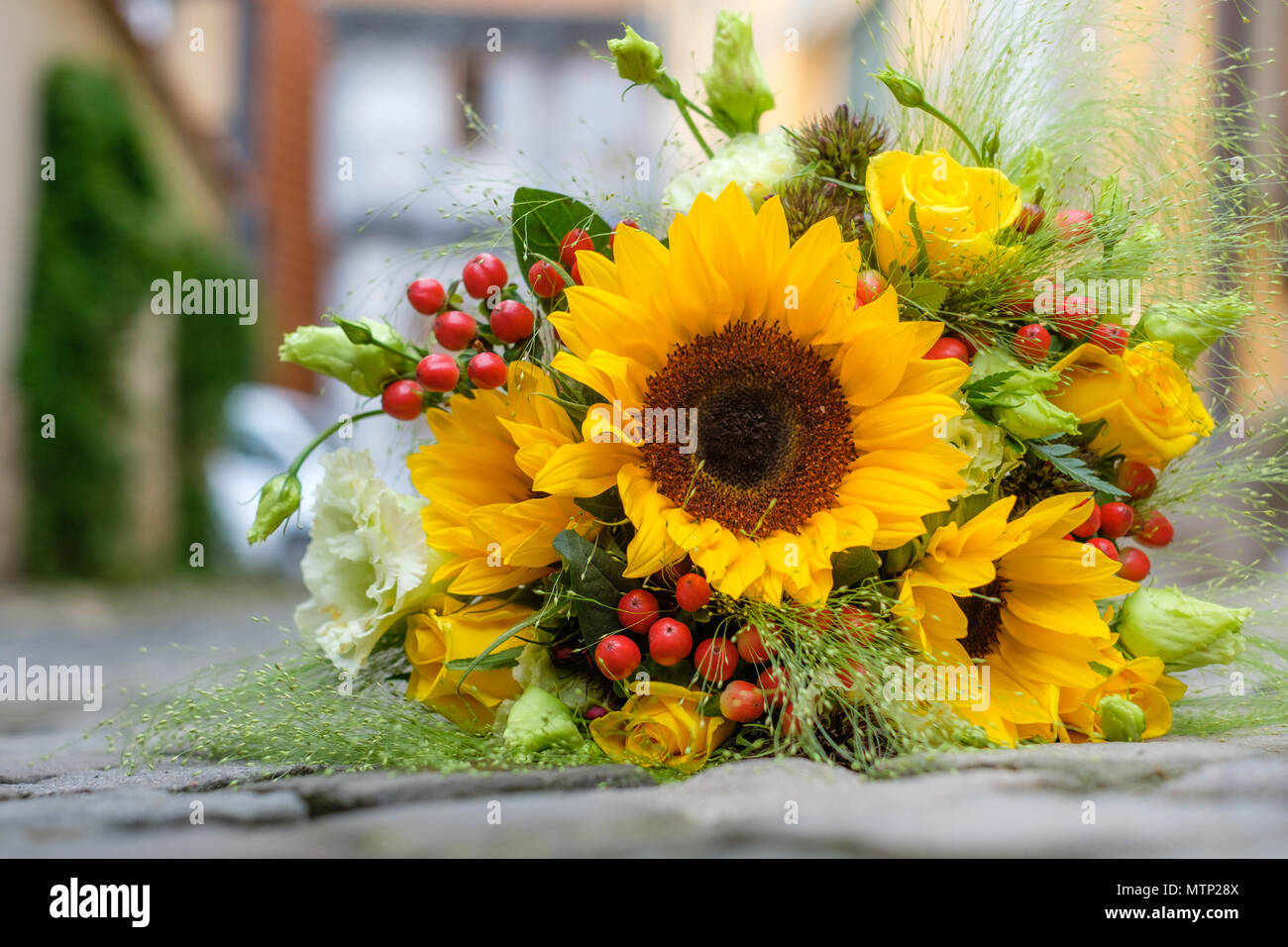 Brautstrauss Sommerblumen Brautstrauß - Stock Image