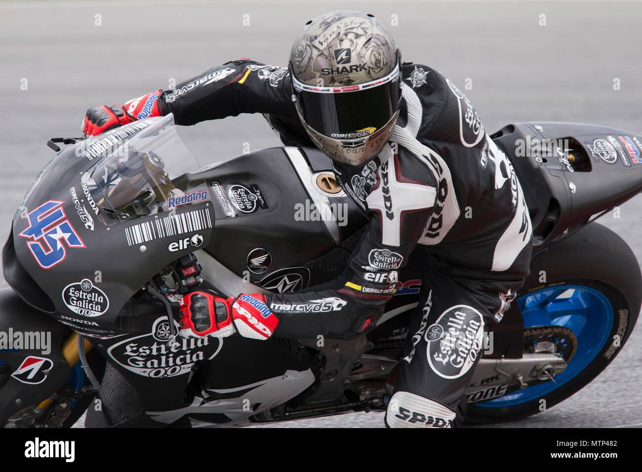 Britain's Scott Redding astride his Honda RCV factory bike