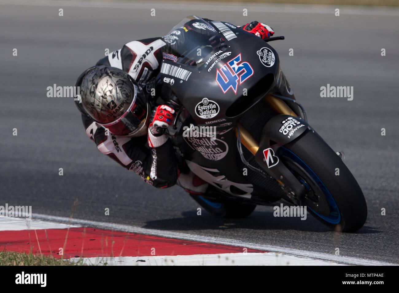 Britain's Scott Redding astride his Honda RCV factory race bike at the official MotoGP winter test at Sepang circuit in Malaysia. - Stock Image