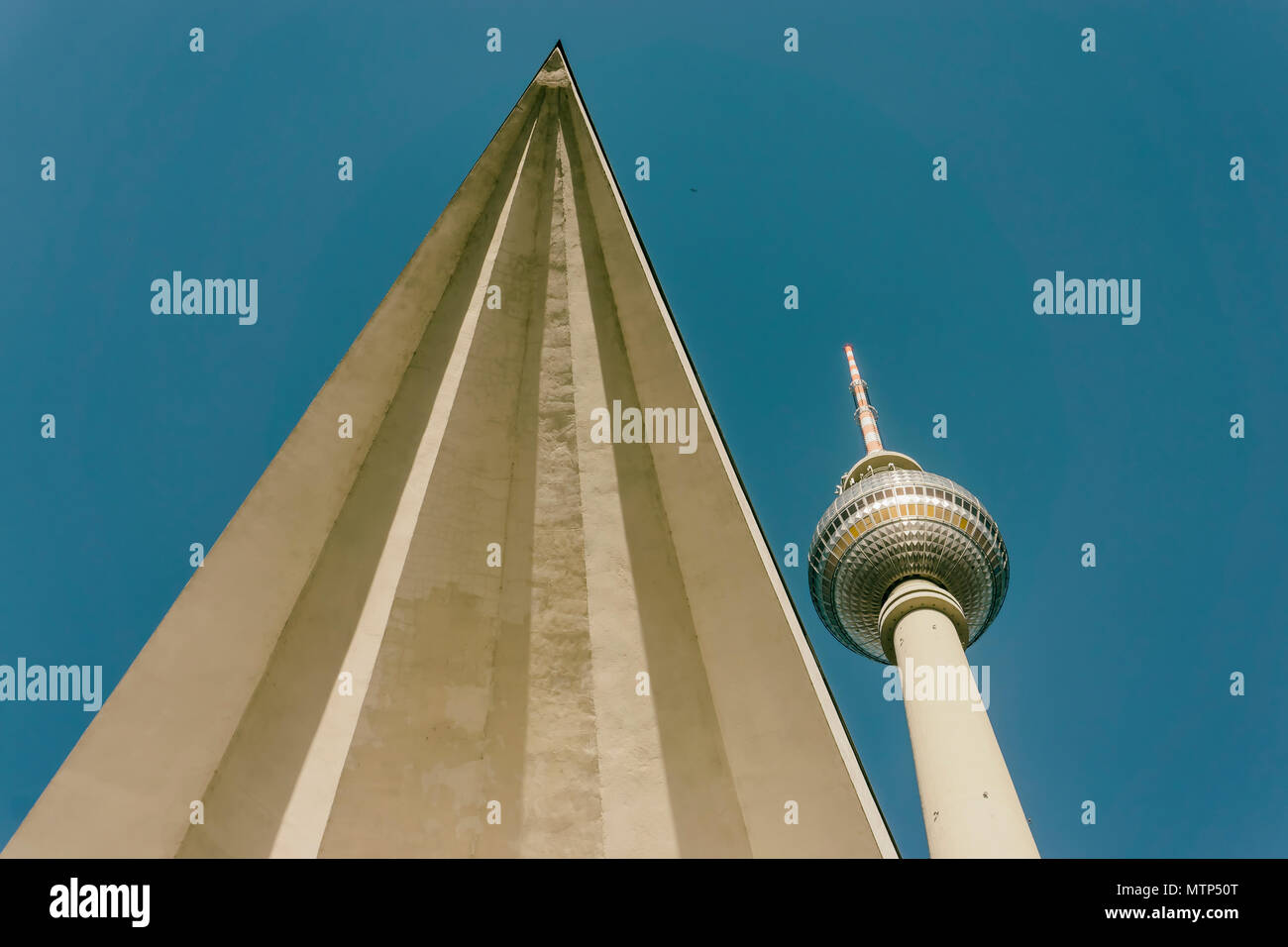 Berlin, Germany, May 08, 2018: Tv Tower with Triangular Architectural Feature - Stock Image