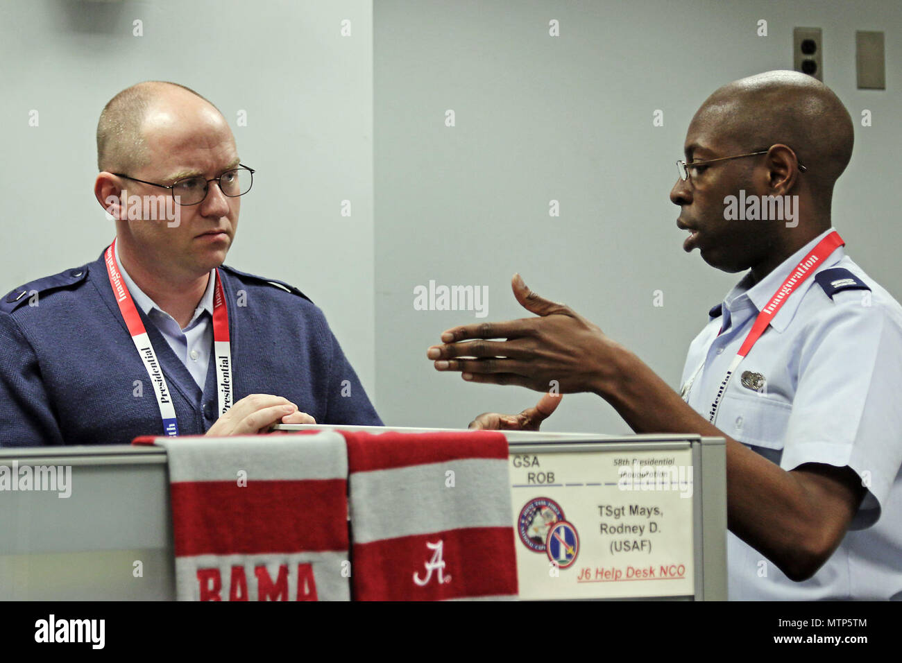 U.S. Air Force Captain Nathan Johnson, A Logistician, And Tech Sgt. Rodney  Mays, A Help Desk Technician, Both Assigned To Joint Task Force   National  ...