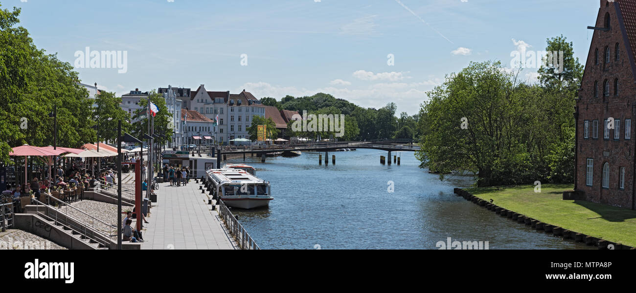 panorama view of the old town island with trave river, lubeck, germany - Stock Image