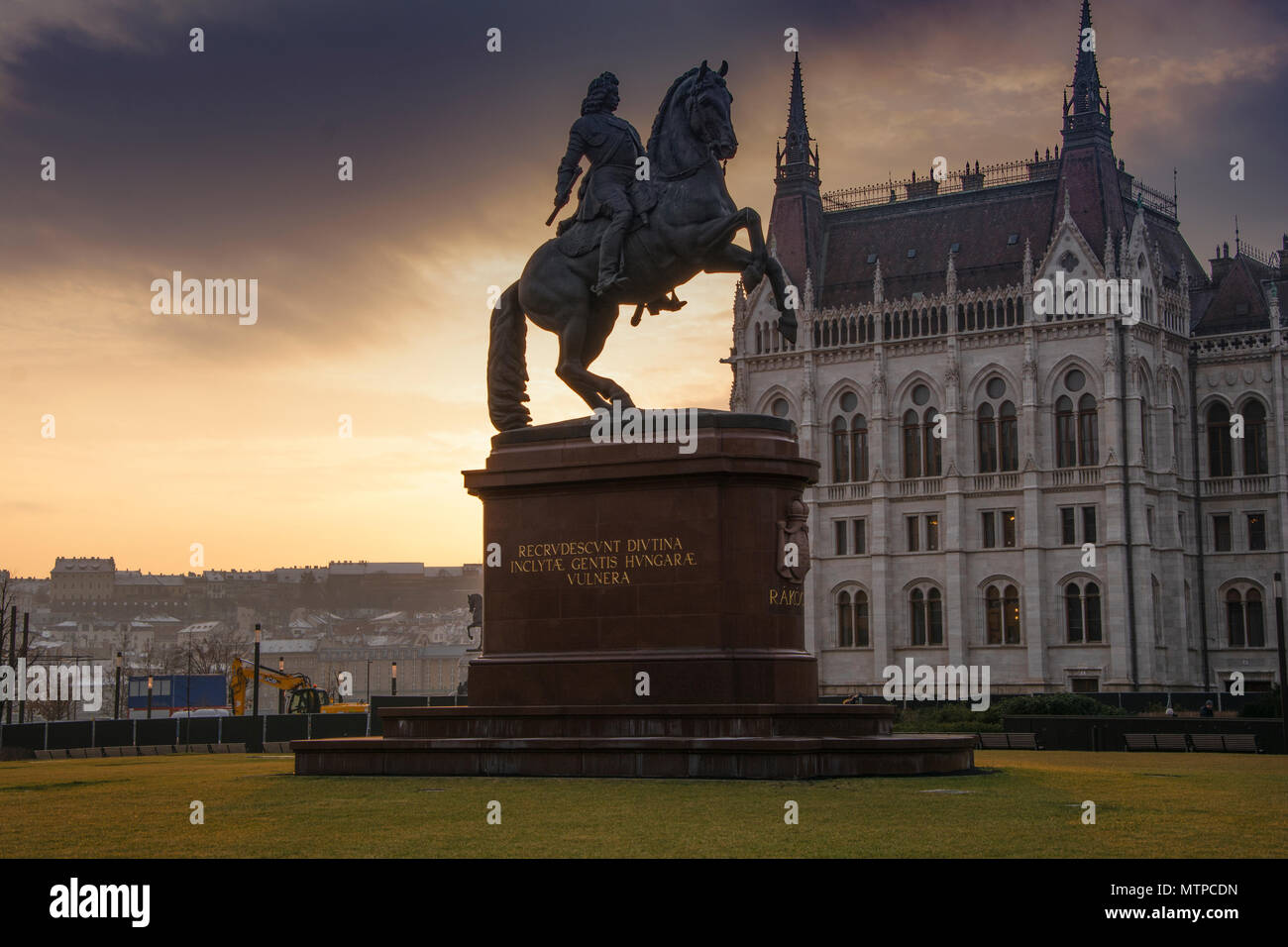 Budapest Hungary, 7th February 2018. Equestrian Monument of Ferenc II Rakoczi, Prince of Transylvania, in front of Hungarian Parliament Building Stock Photo