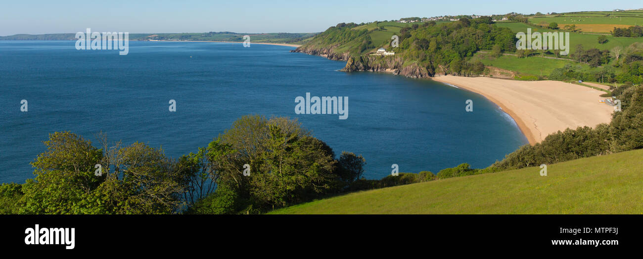Blackpool Sands Devon UK near Dartmouth and Slapton Sands panoramic view - Stock Image